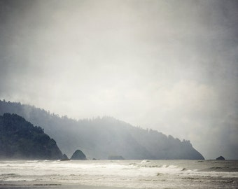 "Oregon Landscape Photography, Cannon Beach Wall Art, Gray Ocean Art, Fine Art Photography, Coastal Art, Fog ""Land's End"""