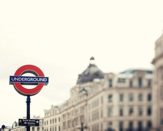 London Underground Sign, Travel Photography, Red, Winter White, Regent Street, England - Going Underground