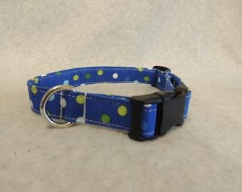 "Medium Dog Collar 3/4"" Wide Blue with Polka Dots"