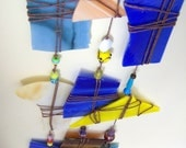 Windchime, suncatcher blue and yellow Small recycled stained glass windchimette