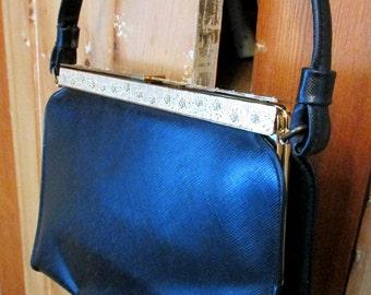 Vintage Black Handbag Ornate Flower Frame After Five 50s Bag Mid Century L M Purse USA