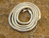 """20 Inch Silver Plated Slinky Necklace, Silver Plated Choker, 20"""" Silver Plated Omega Type Choker"""