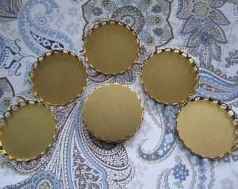 Cabochon Settings 26mm Bezel Round Lace Edge Brass Findings on Etsy x 6