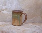 Shino Rust and Copper Patina Green Handmade Stoneware Ceramic Pottery Mug Cup - 12 ounce