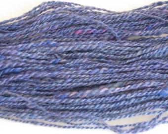 Hand spun Sapphire blue yarn 100 yards worsted weight