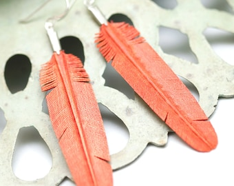 hand carved leather feather earrings - ocean coral