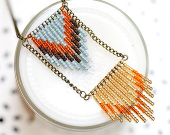 sky blue, orange and beige -  seed bead chevron necklace