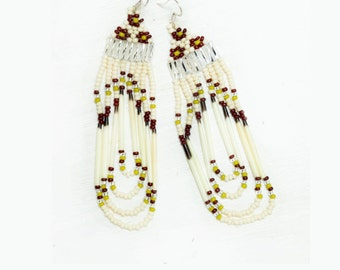 SALE  porcupine quill and seed bead earrings - olive green, rust, cream and clear