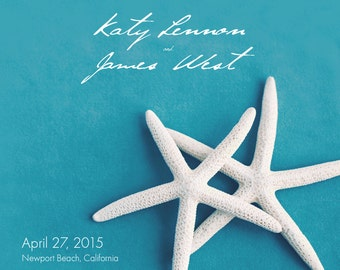 25 magnets per set- 5x5 Wedding save the date Magnets- WHITE STARFISH on blue