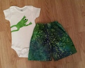 Boutique Custom Toddler Boy BATIK FROGGY Summer Shorts and Onesie Outfit - 12M - Ready to ship