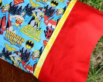 GIRL POWER Super HEROES, Travel/Toddler Pillowcase, girls bedding