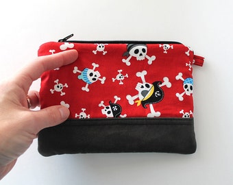 Red pirates LITTLE zipper pouch. Black suede bottom. Ready To Ship purse. christmas money. Stocking stuffer. jolly rodger flag, black smoke