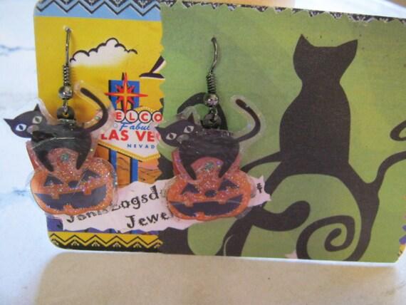 Scary Black Cat and Pumpkin Halloween Earrings