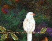 No.764 White Bird Too - Needlefelt Art XL - Wool Painting