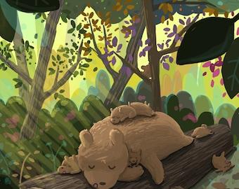 Sleepy Forest Bears 12x18 Art Print