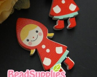 CH-WO-10002 -  Own designs - Little red riding hood wood cabochon 4 pcs