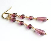 Long Purple Earrings, Plum Czech Glass Teardrops, Gold Vermeil