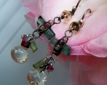 Faceted Citrine  briolette, Tourmaline sticks, sterling silver ,wire wrapped, French earwire  earrings