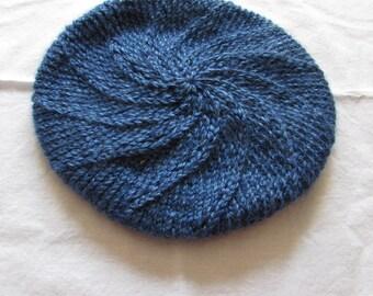 Hand Knit Beret Adult or Teen Blue/Black, Teal , Blue Tweed or Multicolor