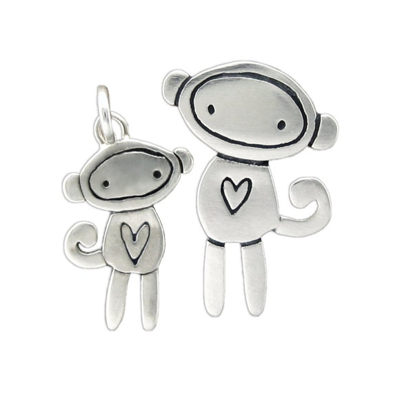 Mother Daughter Sock Monkey Necklace Set - Two Sterling Silver Monkey Necklaces
