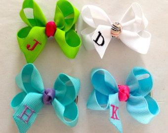 Custom Listing for Y.SANDIFER Violet/Small- Custom Monogrammed Boutique Hair Bow For Infant/ Toddler- Choose From Over 80 Colors of Ribbon