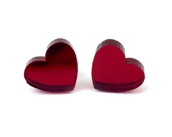 Red Mirror Acrylic Heart Earrings Heart Studs Valentines Day Love Earrings Oxblood Earrings Post Earrings Valentines Gift Laser Cut Studs