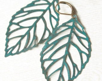 Blue Patina Antique Brass Filigree Leaf Leaves Earrings Nature Inspired, Fall, Autumn Trend