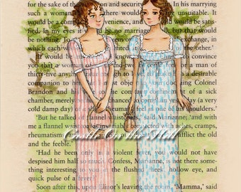 Jane Austen Sense and Sensibility Elinor and Marianne Take In The View - 5 x 7 print