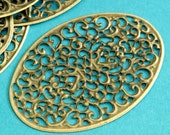 20pcs 55mm Antique Bronze Filigree Oval Wrap R007-AB
