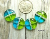 Fun In the Spring  Turquoise & Lime Lentils  Lampwork Beads SRA