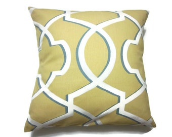 Decorative Pillow Cover Yellow Gray White Modern Lattice Design Same Fabric Front/Back Throw Toss Accent Cover 18 x 18 inch  x