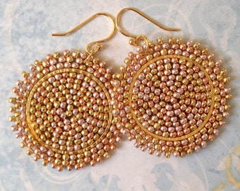 Small Beaded Disc Earrings Bright Sun Goddess multicolored seed bead earrings