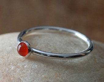 Carnelian Stacking Ring, 4 mm Sterling Silver, Small Stacking Ring, Size 2 to 15, Womens Ring, August Birthstone,Gift for Her,Womens Jewelry