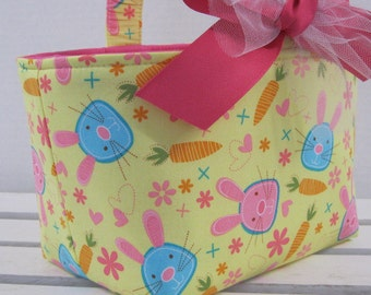 Easter Fabric Candy Egg Hunt Basket Bucket Storage Container Bin - Snack Bunny