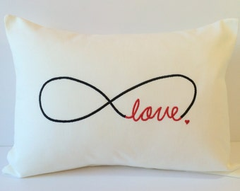 VALENTINES DAY. Wedding. Monogram Pillow Cover. Love. Infinity. Forever Heart. 12 x 16 Throw Pillow. Anniversary Gift. I Love You Always.