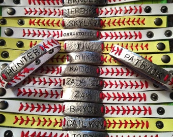 Personalized Leather baseball or softball bracelet personalized
