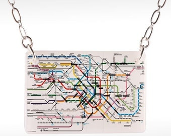 Tokyo Subway Map Necklace - Tokyo Necklace, Tokyo Jewelry