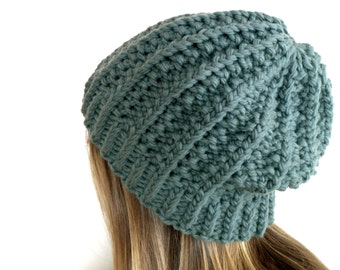 pattern, knit hat, women's slouchy knit ski hat in merino wool