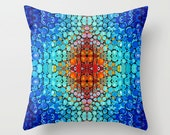 Throw Pillow Abstract Mosaic Art COVER Design Blue Home Colorful Primary Colors Decor Artsy Decorating Made Easy Living Room Bedroom Bedding