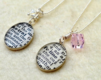 CUSTOM Dictionary Necklace - Your choice of word - Recycled Book Jewelry - Medium Oval with Crystal on Sterling Silver