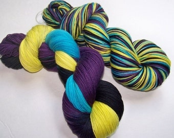 Hand Painted Superwash Merino/Nylon 4-Ply Sock Yarn -- Dead For Ten Minutes