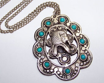 SJK Vintage -- Antique Silver and Turquoise Bead King Tut Egypt Revival Pendant Necklace  (1970's)