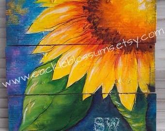 16 X 16 Colorful Sunflower on Rustic Wood Acrylics Original Art