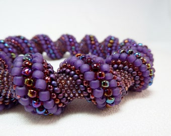 Aubergine Dream Beadwoven Cellini Spiral Bracelet