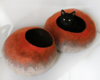 Cat Bed / Cave / House / Vessel / Furniture / Cocoon - Hand Felted Wool - Beige To Orange Stone - Crisp Contemporary Design - READY TO SHIP