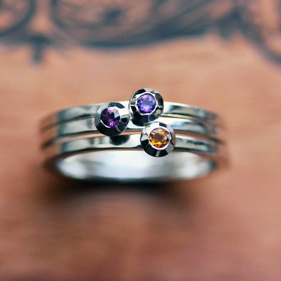 tiny stackable gemstone rings unique birthstone by metalicious