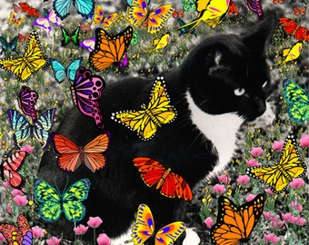 Painting (Digital Collage) - Freckles in Butterflies I - Art Card, ACEO