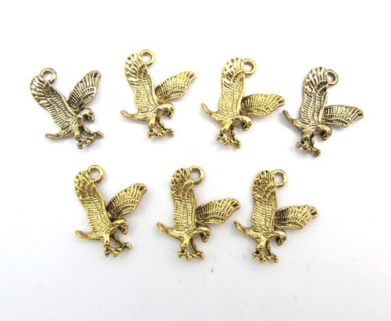 Vintage Antiqued Gold Plated Flying Eagle Charms (6x) (V290)
