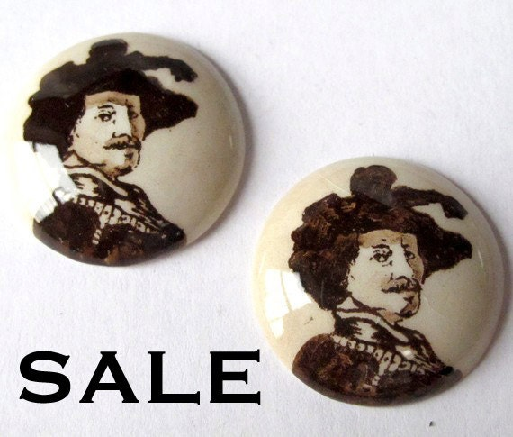 LAST Set - Vintage Ceramic Limoges Cabochons With A Shakespeare Decal (4X) (CB545) S A L E - 50% off
