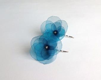 Teal Blue Organza Flowers Hair Pins, Shoe Clips
